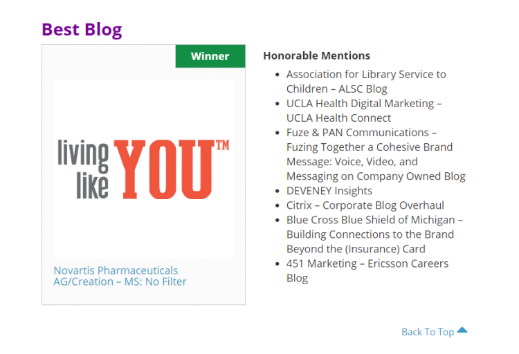 Image Living Like You winner best blog