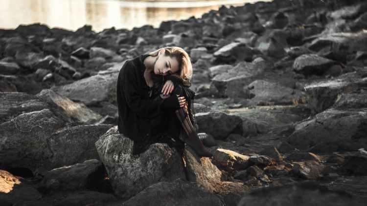 Adult beach black dress daylight