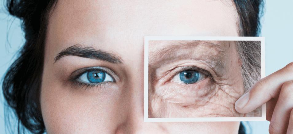 Wrinkles blue eyes
